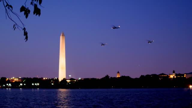 Marine One flying into the Whitehouse, Washington DC