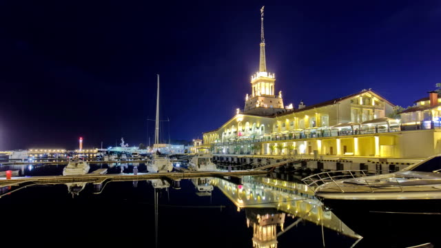 Marine station in Sochi timelapse hyperlapse at night video