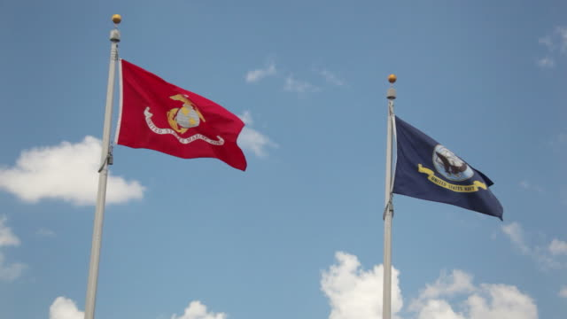 US Marines and Navy Flags video