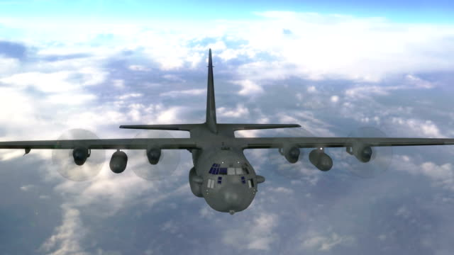 marines transport aircraft flying above clouds video