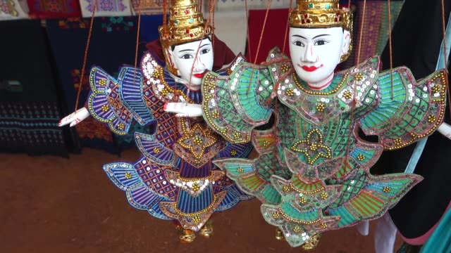 Marionettes, Northern Thailand Marionettes, Puppets, Souvenir in a Hill Tribe Village at Chiang Rai, Thailand, Asia marionette stock videos & royalty-free footage