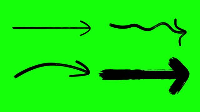 marker oklar, el çizim okları yeşil ekran siyah renk - arrows stok videoları ve detay görüntü çekimi