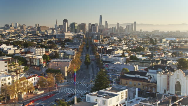 Market St from The Castro to the Financial District at Sunrise - Drone Shot video