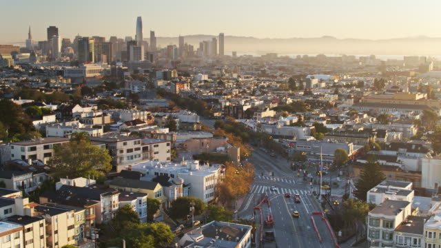 Market St, San Francisco through The Castro Towards the Financial District - Drone Shot video