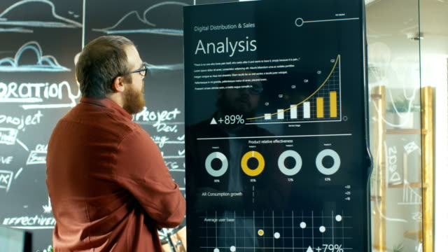 marketer touches interactive whiteboard  to look closer at the latest graphs and charts of statistical growth. - sales video stock e b–roll