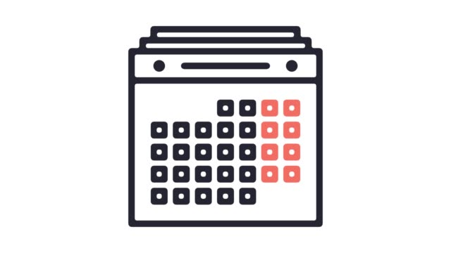 marketing-kalender linie symbol animation mit alpha - kalender icon stock-videos und b-roll-filmmaterial