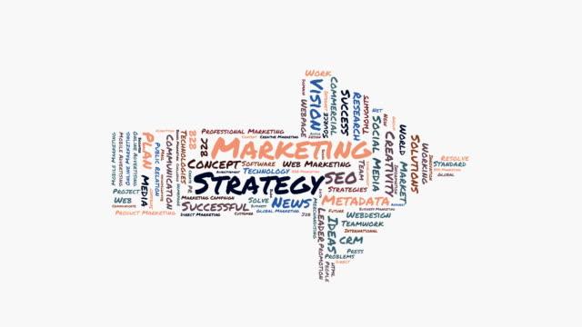 Marketing Strategy word cloud shaped as a arrow