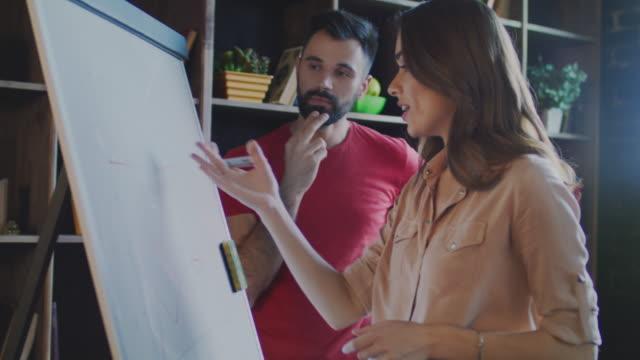 オフィスでマーカー ボード上のマーケティング キャンペーンを議論するマーケティング チーム - 板点の映像素材/bロール