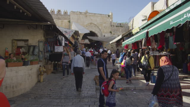 Marketplace near the Damascus Gate Marketplace near the Damascus Gate, in the old city of Jerusalem. middle east stock videos & royalty-free footage