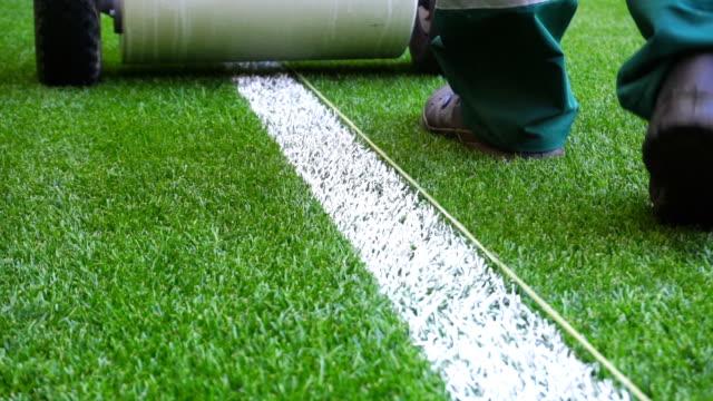 märkning stadium fotbollsplan med färg - gräsmatta odlad mark bildbanksvideor och videomaterial från bakom kulisserna