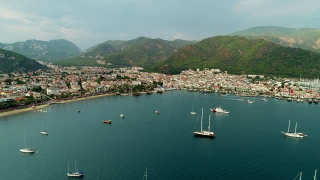 Marmaris Marina and Mountains Marmaris Marina and Mountains turkey stock videos & royalty-free footage