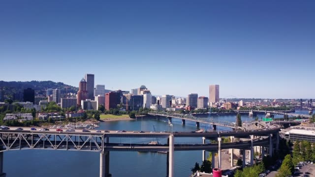 Marquam Bridge and Downtown Portland - Aerial View video