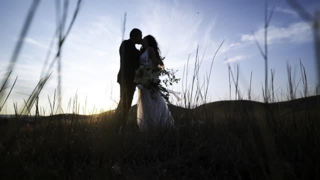 結婚のカップルが自然にキス - 結婚式点の映像素材/bロール