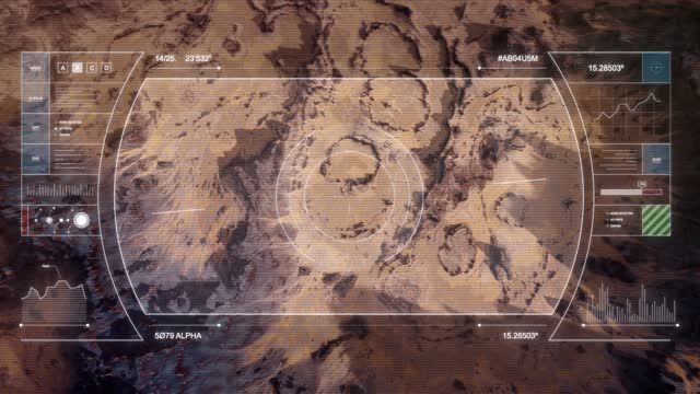 Mars Drone Flight - Coming in to Land with HUD Overlay B video