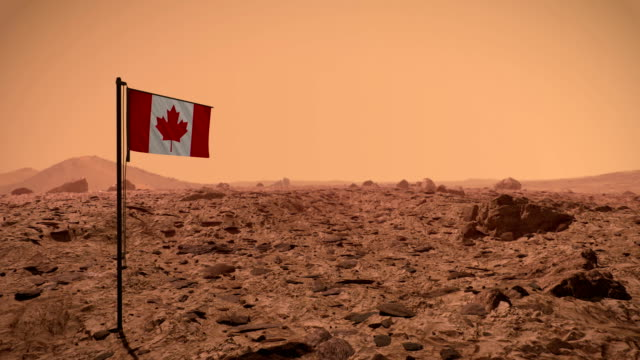Mars surface with Canadian flag
