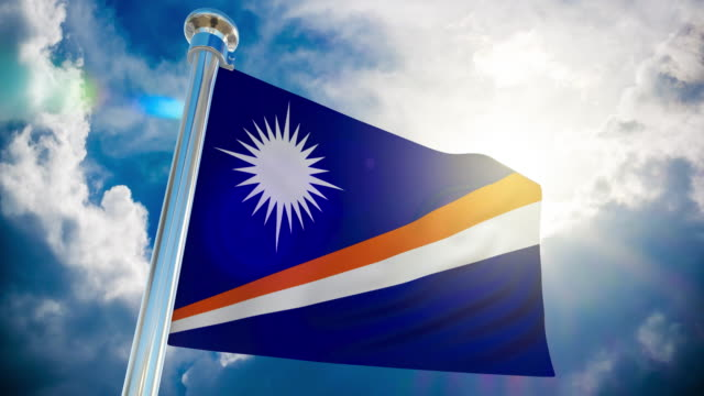 4k - marshall islands flag | loopable stock video - majuro video stock e b–roll
