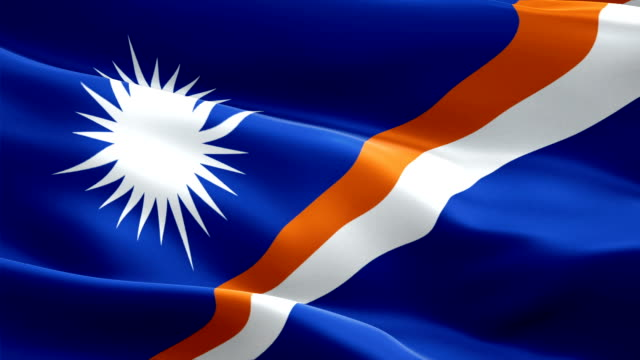 marshallese flag closeup 1080p full hd 1920x1080 footage video waving in wind. national majuro 3d marshallese flag waving. sign of marshall islands seamless loop animation. marshallese flag hd resolution background 1080p - majuro video stock e b–roll