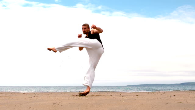 vídeos y material grabado en eventos de stock de artes marciales experto practicar en la playa - artes marciales