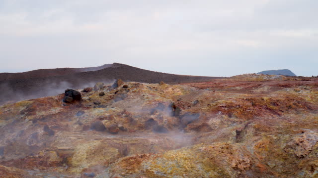 Martian landscape Geothermal activity, Hot steam erupts from the ground, Iceland,