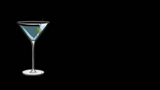 stockvideo's en b-roll-footage met martini glas animatie geïsoleerd - martini