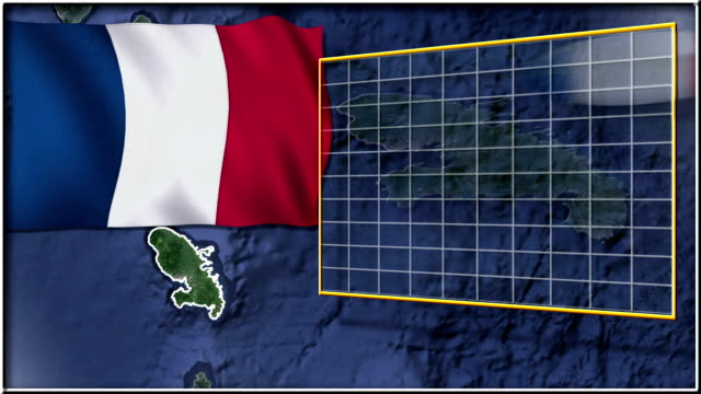 Martinique flag and map animation