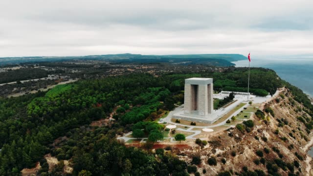 Martyrs' Memorial. The Çanakkale Martyrs' Memorial is a war memorial commemorating the service of about 253,000 Turkish soldiers who participated at the Battle of Gallipoli. çanakkale province stock videos & royalty-free footage