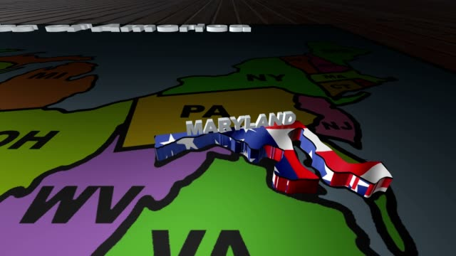 Maryland pull out from USA states abbreviations map video