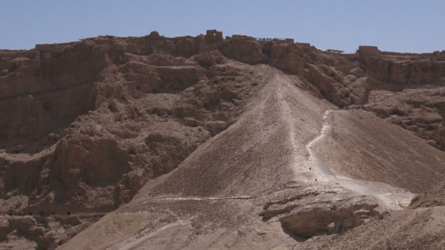 Masada stronghold in the Judaean Desert, Israel MASADA, ISR - APR 29 2015:Visitors in Masada stronghold in the Judaean Desert, Israel.Masada is one of Israel's most popular tourist attractions archaeology stock videos & royalty-free footage