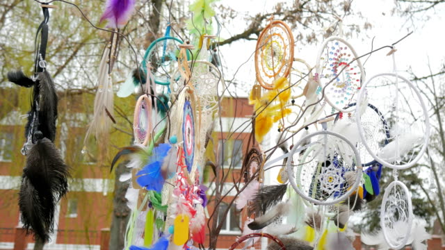 Mascots for sale, catcher of dreams in wind, Tree with colored catchers, dreamcatcher at outdoors, Amulet for pleasant dreams video