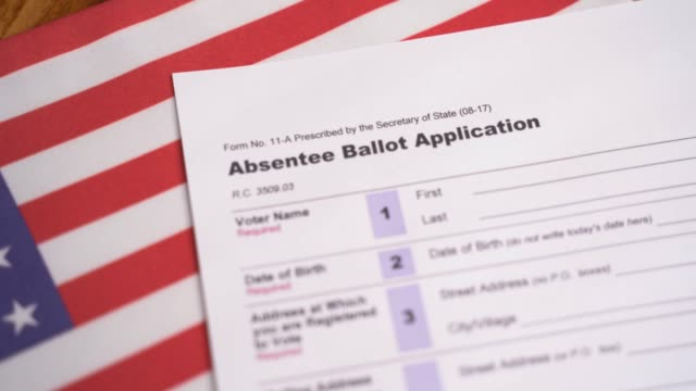 Maski, India - 23, June 2020 : Pan view of Absentee ballot application on US flag for American Presidential elections