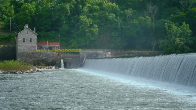 Masonry Dam Water Power Station Near Water With Mist 4k
