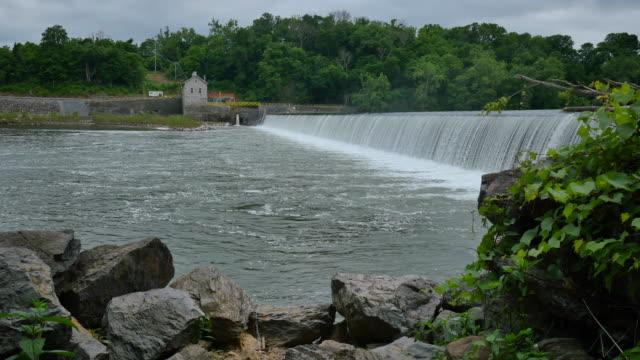 Masonry Dam Water Power Station Wider With Rock Edge 4k