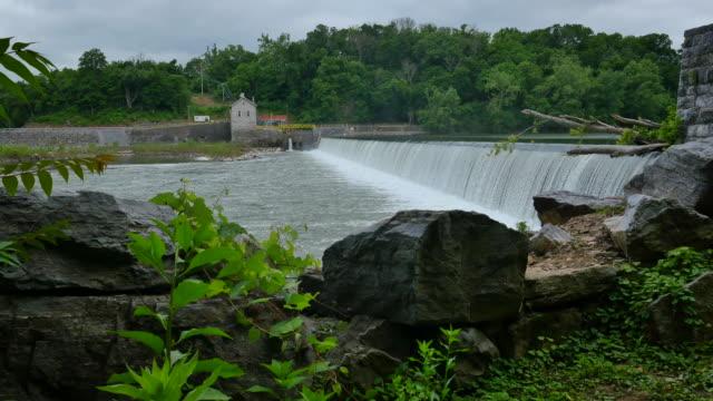 Masonry Dam Water Power Station Wider With Rocks 4k