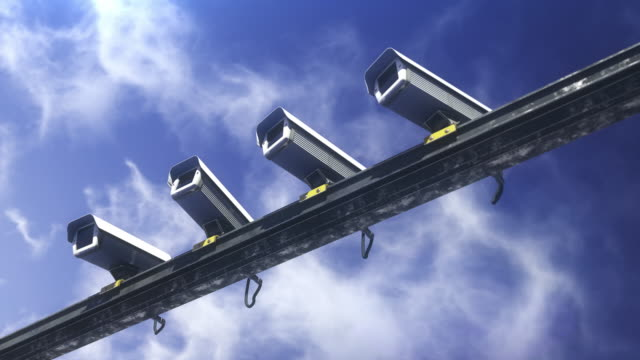 매스 컨트롤, 모든 사람과 모든 것을 모니터링 하는 보안 카메라, 정부 - 성찬 미사 스톡 비디오 및 b-롤 화면