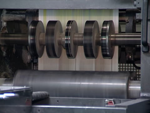 mass press daily edition. equipment for printing newspaper. - paper mass bildbanksvideor och videomaterial från bakom kulisserna