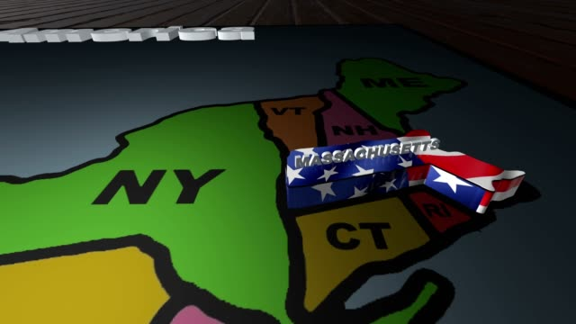 Massachusetts pull out from USA states abbreviations map video