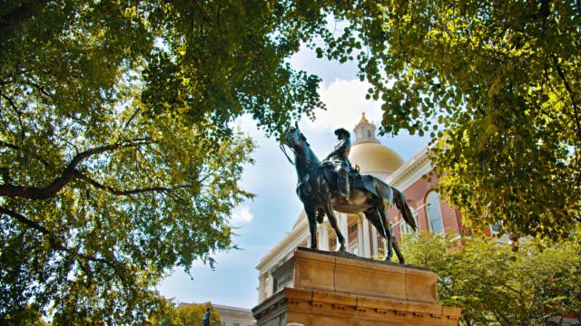 Massachusetts State House. Equestrian statue of Joseph Hooker. State Library of Massachusetts. Tree. Nature