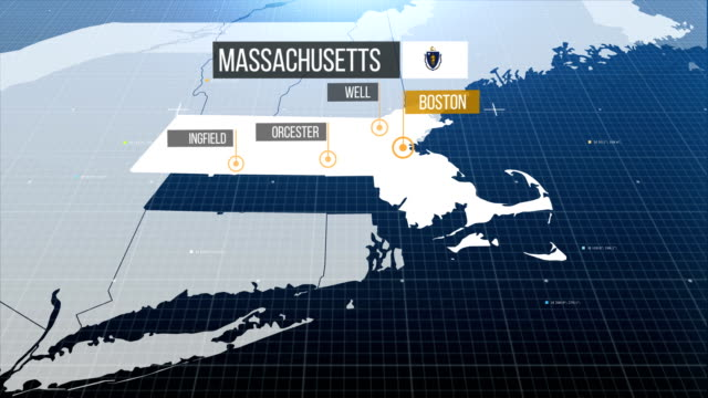 massachusetts state karta med etiketten sedan med ut etikett - massachusetts bildbanksvideor och videomaterial från bakom kulisserna