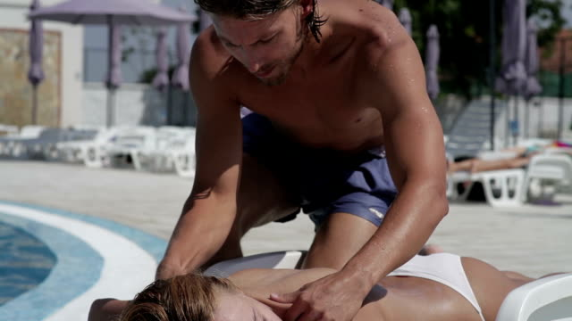 Massage at the pool video