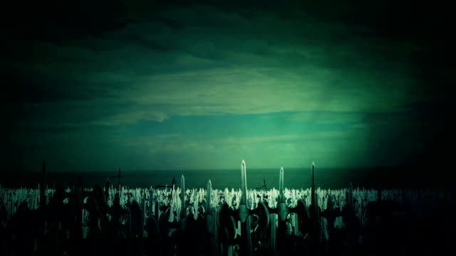 A Massive Army Crowd of Medieval Warriors Before going to a Bloody Battle video