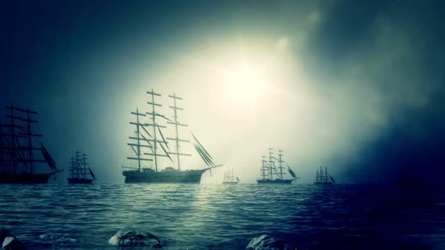 Massive Fleet of Sailing Ships Sailing to Shore video