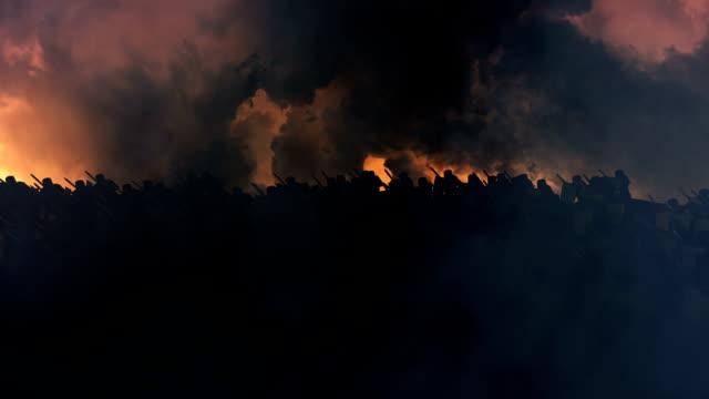 大規模的中世紀軍隊向前進 - sword 個影片檔及 b 捲影像
