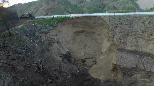 Massive sinkhole on the edge of highway in La Tuna Canyon in Los Angeles video