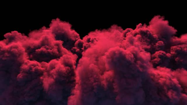 massive rand-rauch-eruption durch rotes licht beleuchtet. - vulkan stock-videos und b-roll-filmmaterial