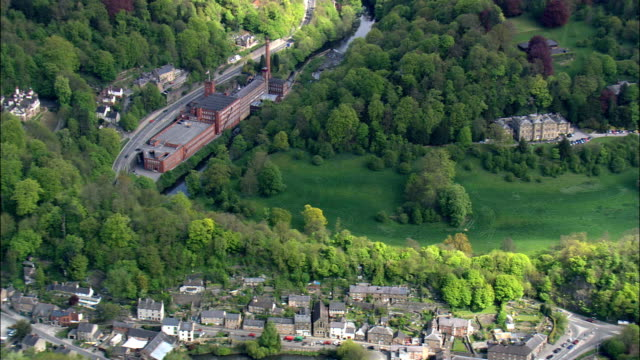 Masson Mill  - Aerial View - England,  Derbyshire,  Derbyshire Dales District,  United Kingdom video