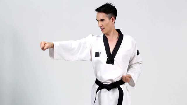 Master Black Belt TaeKwonDo Teacher show fighting pose, video