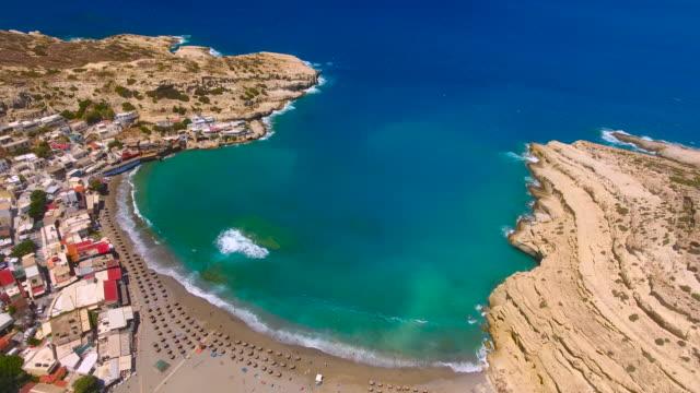 Matala, Crete, Greece. Aerial drone shot. video