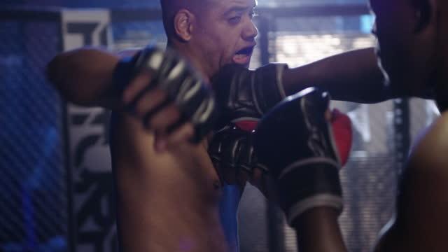 ein match im kickbox-himmel - käfig stock-videos und b-roll-filmmaterial