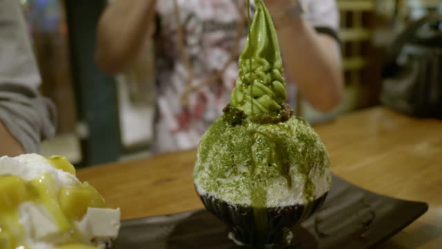Matcha green tea ice