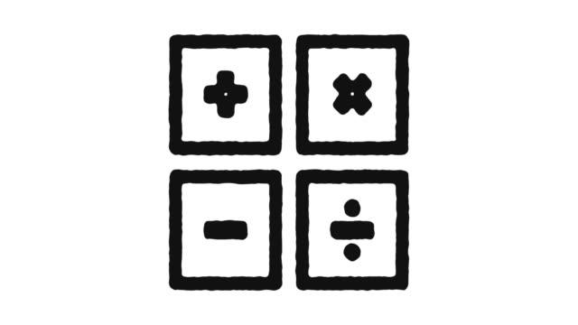 metraggio animazione icona matematica & canale alfa - simbolo video stock e b–roll